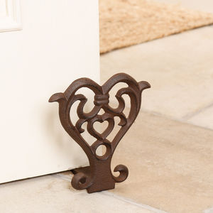 Cast Iron Love Heart Door Wedge - door stops