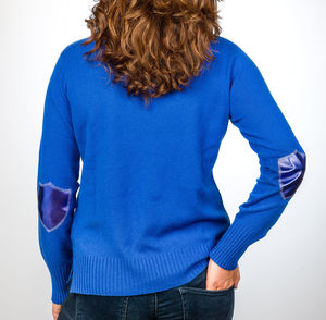 Cashmere Jumper With Metallic Elbow Patches - women's fashion