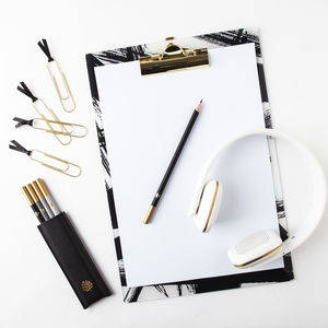 Tate, Black White And Gold Clipboard - writing