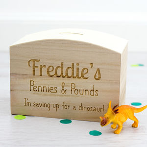 Personalised Childrens Pennies And Pounds Money Box - children's room accessories