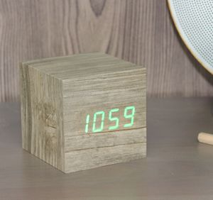 Cube Ash/Driftwood Click Clock - bedroom