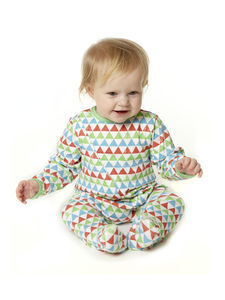 Triangle Print Zip Through Babygrow - clothing