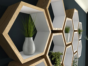 Hexagon Shelves Hand Painted White And Oiled Oak - bedroom