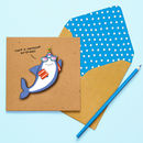 Handmade 'Jawsome Birthday' Shark Birthday Card