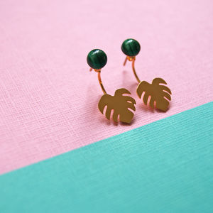 Monstera Malachite And Leaf Swing Earrings - earrings