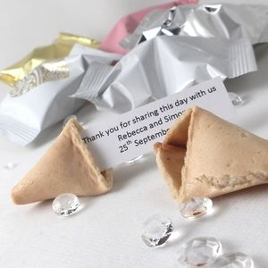 150 Personalised Wedding Fortune Cookie Wedding Favours - unusual favours