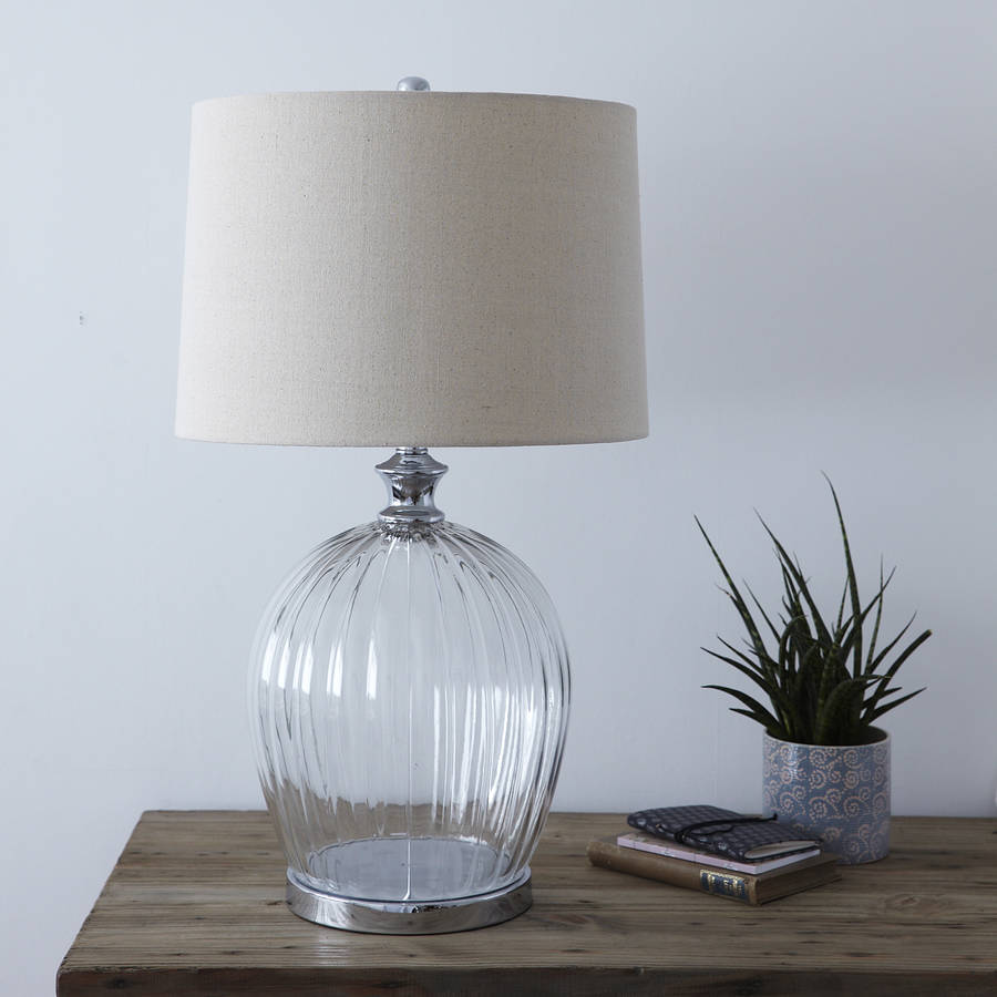 Ribbed Glass Table Lamp With Shade By Primrose Amp Plum