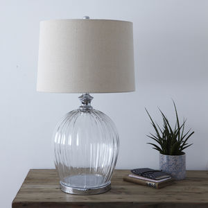 Ribbed Glass Table Lamp With Shade - table & floor lamps
