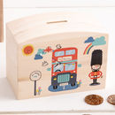 London Themed Piggy Bank with Child's Name