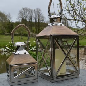 Reclaimed Wood And Stainless Steel Candle Lantern - lighting