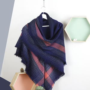 Granite And Herringbone Shawl In Navy - hats & gloves
