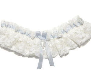 Charis Ivory Floral Lace With Blue Wedding Garter - bridal garters