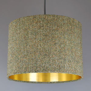 Barley Harris Tweed Lampshade Choice Of Metallic Lining
