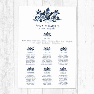 Navy Floral Bouquet Personalised Table Plan