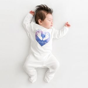 Personalised Footprints In Heart Baby Grow - baby shower gifts