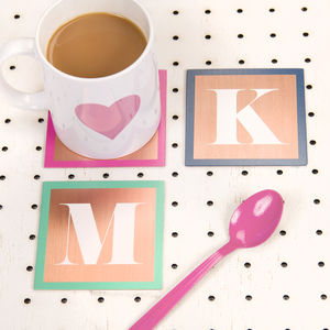 Personalised Solid Copper Monogram Coaster - placemats & coasters