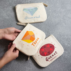 Birthstone Canvas Pouch - stocking fillers