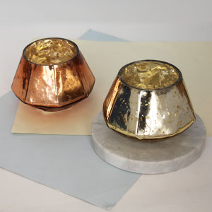Assorted Metallic Geometric Votive - outdoor decorations