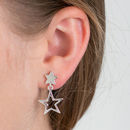 Stars Drop Silver Earrings