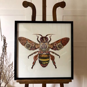 Worker Bee Collage 3D Picture Dark Natural Wooden Frame - experiences
