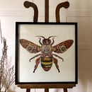 Worker Bee Collage 3D Picture Dark Natural Wooden Frame