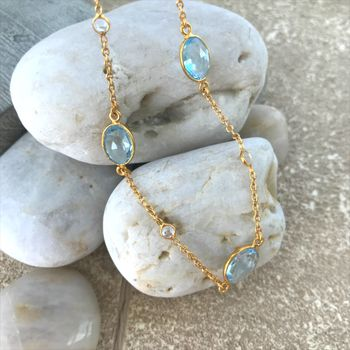 Blue Topaz And 18ct Gold Vermeil Necklace