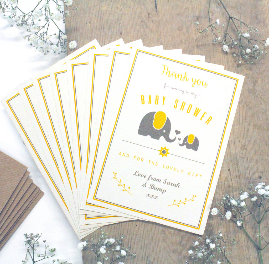 Personalised Elephant Baby Shower 'Thank You' Card