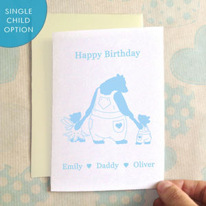 Birthday Bear Daddy And Bearcub Birthday Card - birthday cards