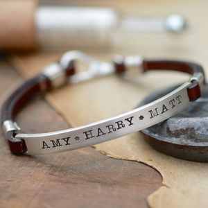 Personalised Brown Urban Ranch Mens Bracelet - men's jewellery