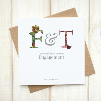 Personalised Floral Engagement Card