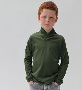 Merino Wool Kids Jumper With Shawl Collar - clothing