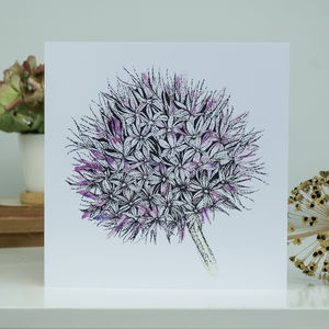 Illustrated Allium Flower Greeting Card