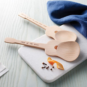 Personalised Guitar Wooden Spoon Set - gifts for him