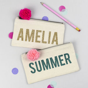 Personalised Glitter Print Pom Pom Pencil Case