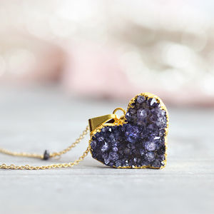 Diamond And Druzy Love Heart Necklace