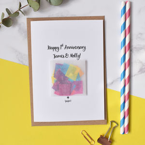1st Anniversary 'Paper' Confetti Card - wedding, engagement & anniversary cards