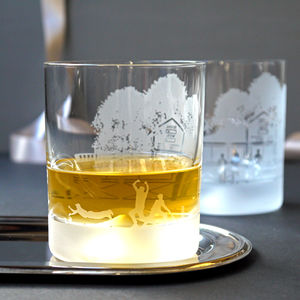 Cricket Scene Crystal Glass - kitchen