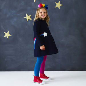 Star Gazer Girls Coat - children's festive partywear
