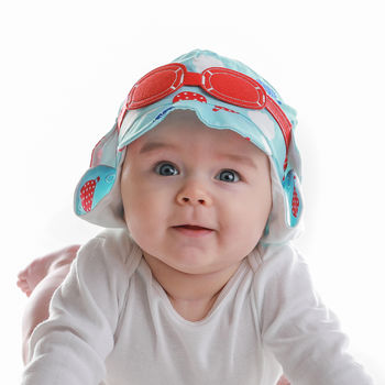 Baby's Pilot Sun Hat With Googles Blue And Red