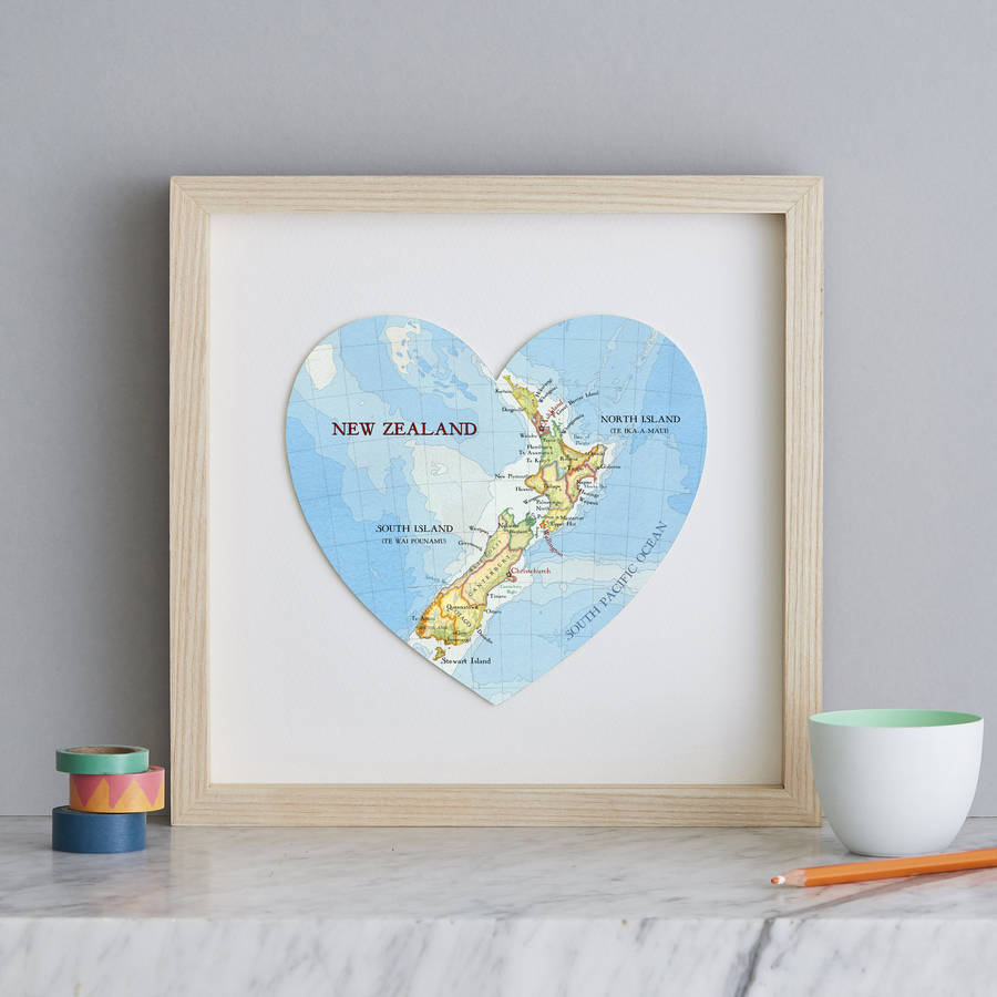 Printable Map Of South Island New Zealand.Personalised Location New Zealand Map Heart Print