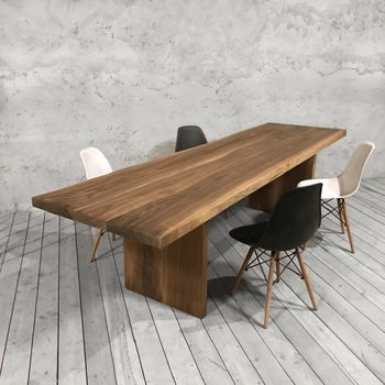 Solid Walnut Dining Table With Slab Legs