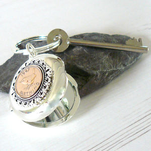 Birthday Coin Mirror Keyring