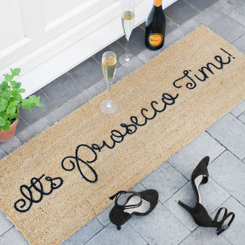 Its 'Prosecco Time' Patio Door Mat
