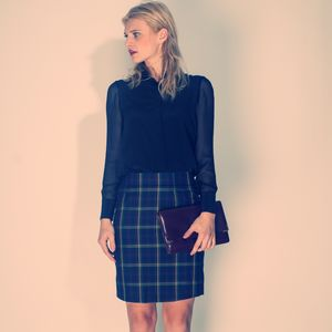 Check Silk Pencil Skirt - skirts