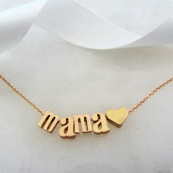 Gold Mama Necklace With Heart