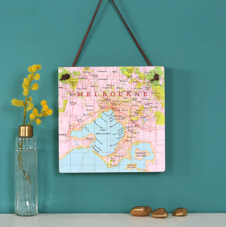 Personalised Hanging Map Location Block Wall Art By Bombus