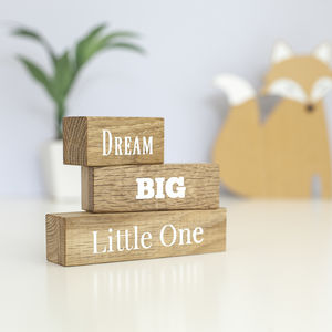 'Dream Big Little One' Oak Building Blocks - traditional toys & games