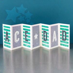 Birthday Card For Dads; 'Ace Dad' Concertina Card