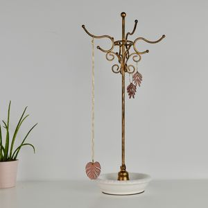 Metal Jewellery Stand With Ceramic Dish