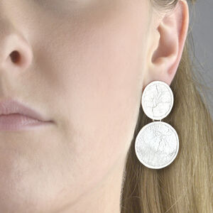 Double Circle Drop Textured Sterling Silver Earrings